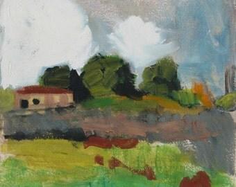 A field apart - original Plein air landscape painting, handmade egg tempera on paper, 26 X 28 cm ; 10.2 X 11 inch, Shirley Kanyon