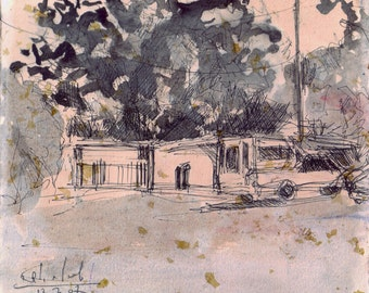 A house, a tree, a car - original ink landscape drawing, 16.5 X 18.5 cm ; 6.5 X 7.3 inch, Shirley Kanyon