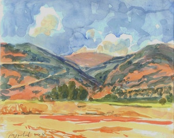 Big as a mountain - original watercolor Galilee landscape painting,  30 X 35.5 cm ; 11.8 X 14 inch, Shirley Kanyon