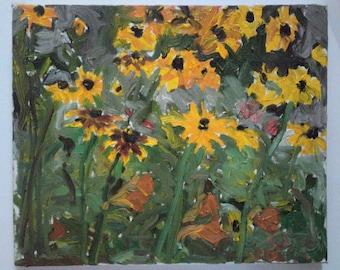 Natural beauty, original Plein air garden painting, oil on canvas, 25 X 30 x 2.5 cm ; 9.8 X 11.8 x 1 inch, Shirley Kanyon