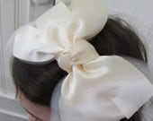 bow headband, ivory ribbon and tulle
