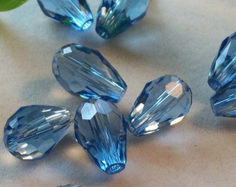 Blue Crystal faceted teardrop crystal beads (15 x 10 mm)-14 pieces