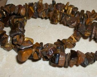 Tigers eye gemstone chips- full strand