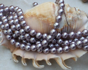 South Sea Shell Pearl- Lavender -6mm round (full strand)