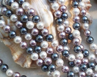 South Sea Shell Pearl- Multicolor -6mm round (full strand)