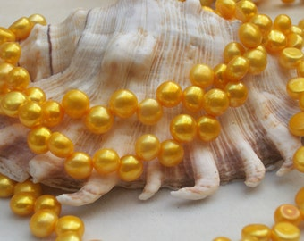 Gold Freshwater Coin Pearl - ( 6 - 7 mm) - full strand