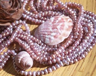 Lavender freshwater Potato Pearl- 3 - 4 mm round- (full strand)