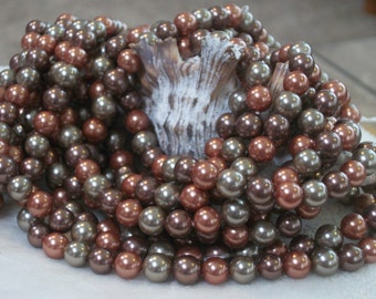 Multicolor South Sea Shell Pearl Rounds-copper and champagne- 6mm round