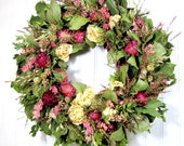Dried Flower Wreath- Tickled Pink, Dried Floral Decor, Wreaths
