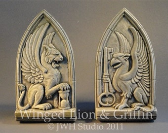 Winged Lion & Griffin set - good fortune and productivity sculptures by Jay Hungate