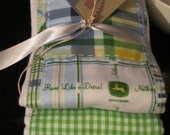 PREMIUM 6 ply burp cloth diapers john deere, green and blue check