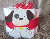 Baby puppy Mini diaper cake decoration, baby shower or new baby gift.