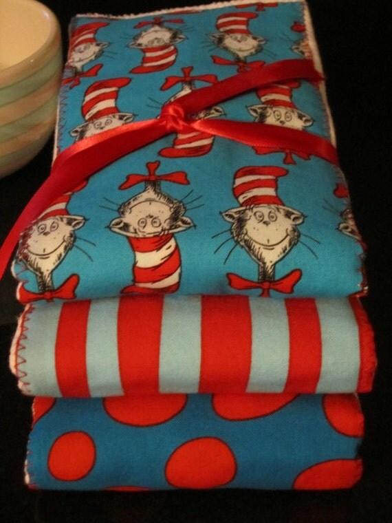 PREMIUM 6 ply burp cloth diapers Dr. Seuss, polk-a-dots, and stripes