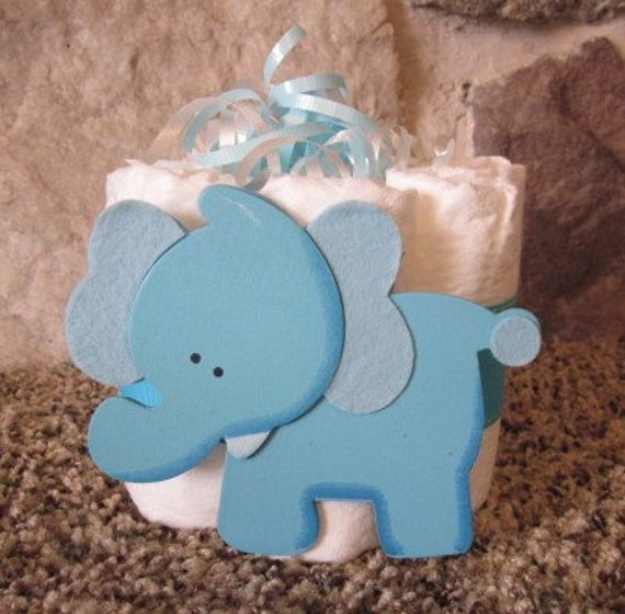 Baby Elephant Cake Decoration : Baby Elephant Mini diaper cake great table decoration for