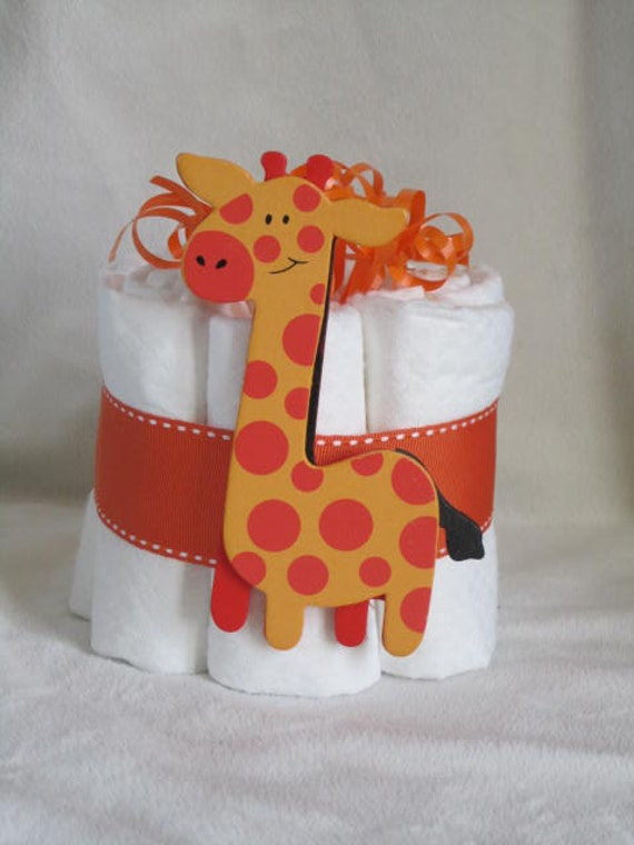 Mini diaper cake baby giraffe great decoration baby shower for Baby shower decoration diaper cake
