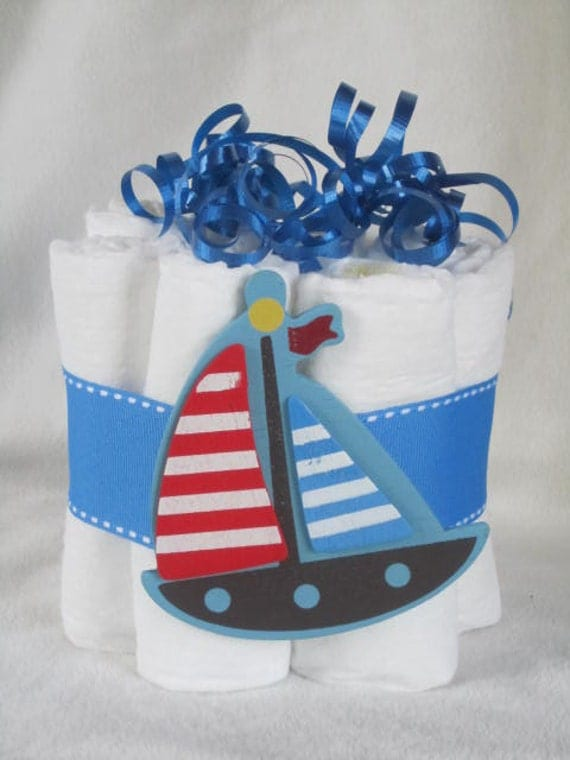 Mini diaper cake sailboat great decoration baby by TMLcreates