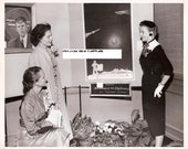 Achievement thru Electronics - Vintage Black and White Photograph of Women Viewing Science Exposition