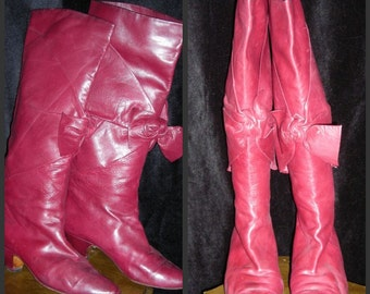 Vintage Casadei Boots - Red Leather, Tie-front, Sz 8.5 - 80s Pirates of Firenze