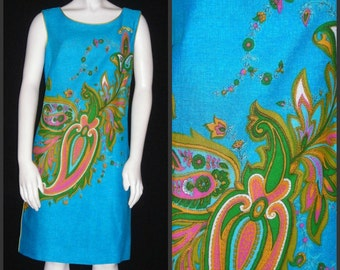 Vintage 60s Loungees Sheath Dress - Easy Breezy Teal, Chartreuse and Paisley