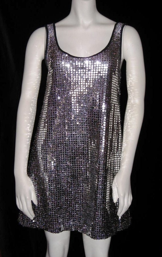 Vintage Betsey Johnson Silver Sequin Mini Dress - Retro Club Kid with Stars in Her Eyes