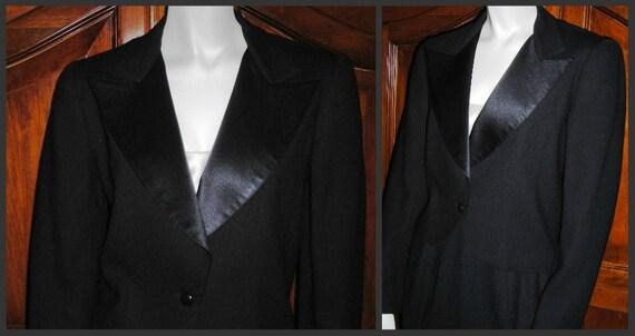 Vintage Black Tuxedo Skirt Suit - Modern Bond Girl Black Tie Affair