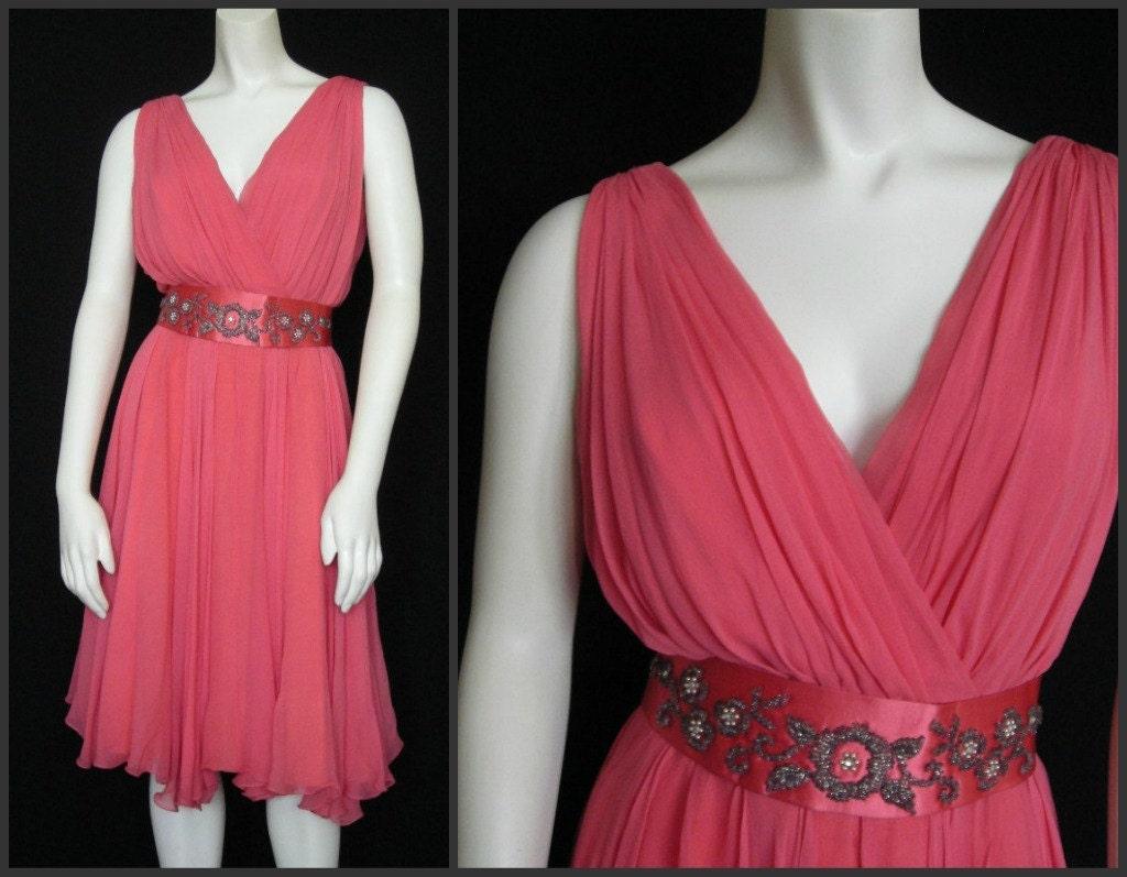 Vintage Wedding Dresses 50s 60s: Vintage 50s-60s Chiffon Cocktail Dress Miss Elliette Peach