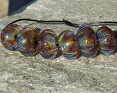 Glittery Confetti Handmade Boro Lampwork Glass Bead Set Beads by Christina Burkhart