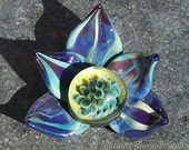 "Purple ""Orchid"" Flower Handmade Boro Lampwork Glass Bead  Focal Pendant By Christina Burkhart"