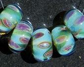 Raspberry & Lime Freeze Handmade Boro Lampwork Glass Bead Set Beads by Christina Burkhart