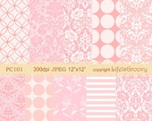 pink beautiful chic floral geometric damask collection digital papers printables background textures PC101- unique designs download