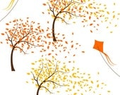 wind blowing autumn trees leaves and kites A117 - unique clipart download for do it yourself cards, invites, creative projects