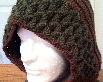 Two Toned Dragon Scale Stitch Hood - MADE TO ORDER - Any Colors
