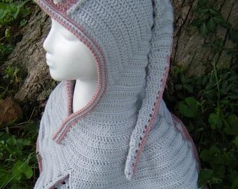 Sale - Pixie/Woodland Capelet, Light Gray/Rosy Cheeks