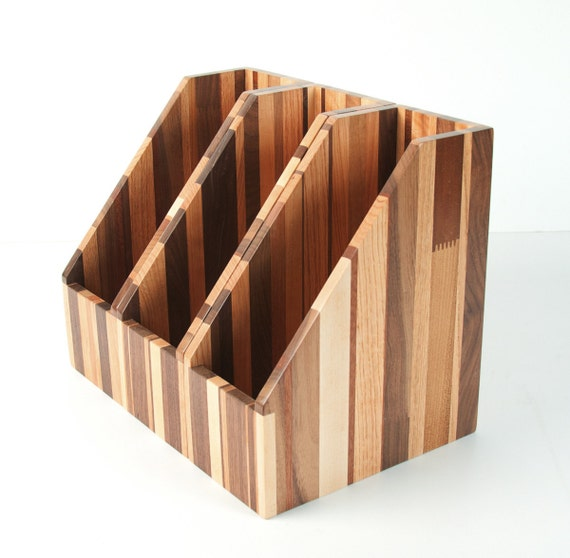Wooden Magazine Holder ~ Items similar to upcycled reclaimed recyled wood file