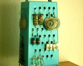 Unique Earring Stand,  Fun Surrealistic Style Retro Industrial Object,Turquoise , Re Purposed Cheese Grater