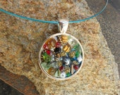 Ocean Treasure Necklace, Silver metal Mosaic  Pendant, glass and natural stones