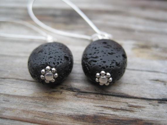 Black Lava Stone Bead Long Dangle Drop Earrings