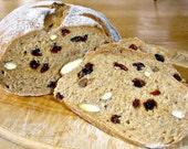 3 Loaves Vegan Non-GMO SPELT Almond Raisin Breads Whole Grain Healthy Food Handmade Baked Goods Artisan