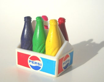 Vintage Pepsi Crayon Set: Tiny Miniature Carry Tote and Five Crayons