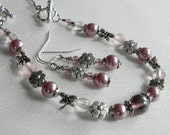 Lilac Covertible Necklace to Bracelet with Earrings