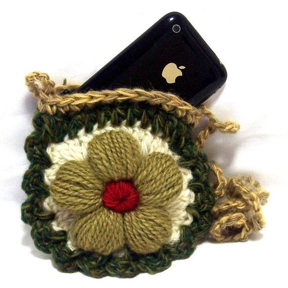 Petite Flower Crochet Mini Purse Shoulder Pouch Bag - Very Cute - Fits ...