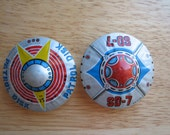 Vintage Space Ship Toys : SD-7 and Patrol Disk  Friction Space Toys  1960s  Japan