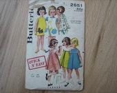 Butterick Pattern 2651 Girls' Smock And Bloomers 1963