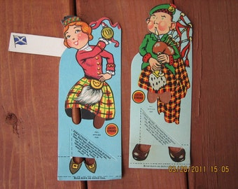 Vintage LUCKY STRIKE Bridge Favors and Place-Cards of Scottish Figures    1930's   Never been used