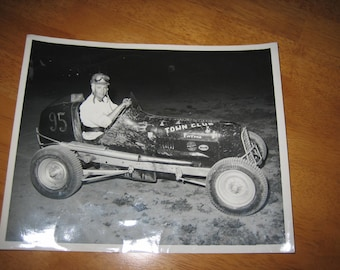 Vintage Photo of Racing Car and Driver  1940's Black and White Photo