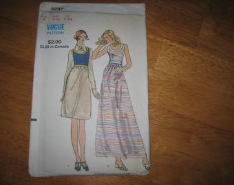 Vogue Pattern 8297 Misses' Dress    circa 1972    Uncut