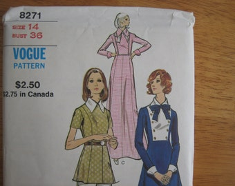 VOGUE Pattern 8271 Misses' Dress, Tunic and Pants  Gown   circa 1972     Uncut