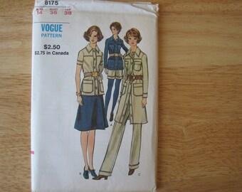 VOGUE Pattern  8175  Misses' Shirtdress, Top, Skirt, Pants And Shorts    1970's   Uncut