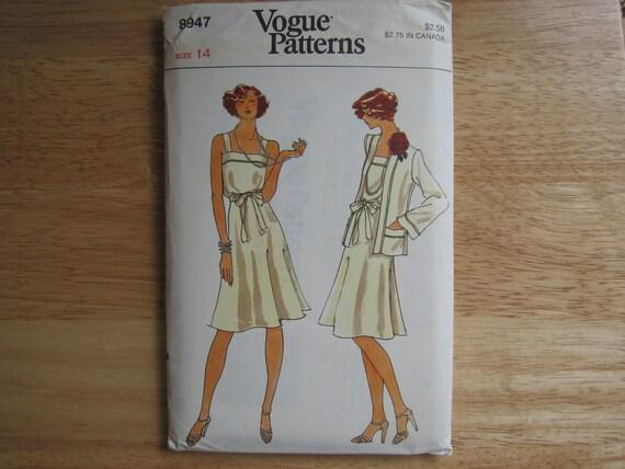 Vintage Vogue Patterns  8947  Misses' Dress And Jacket   1970's  Uncut