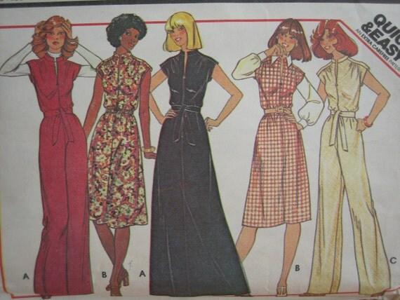 Vintage McCALL'S Pattern 5366 Misses' Dress And Jumpsuit  1976  Uncut
